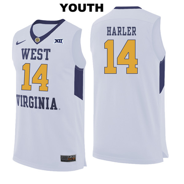 Chase Harler Nike Youth Stitched White West Virginia Mountaineers Authentic no. 14 College Basketball Jersey