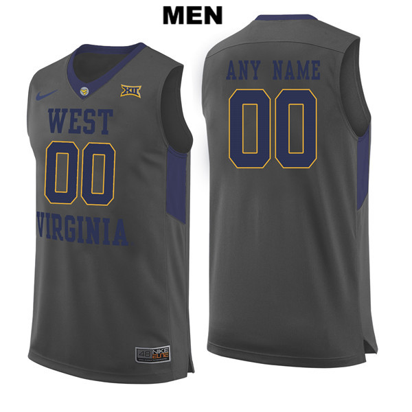 3e18501dd Customize Stitched Mens Gray West Virginia Mountaineers Nike Authentic  customize College Basketball Jersey