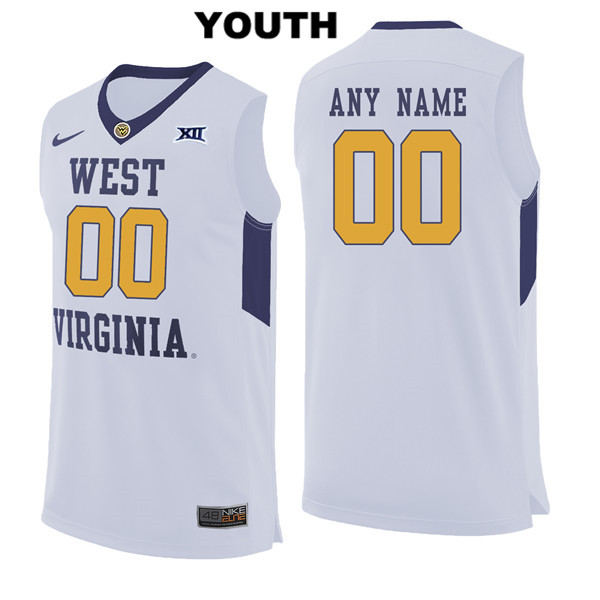 0365b8fe3 Nike Customize Youth Stitched White West Virginia Mountaineers Authentic  customize College Basketball Jersey