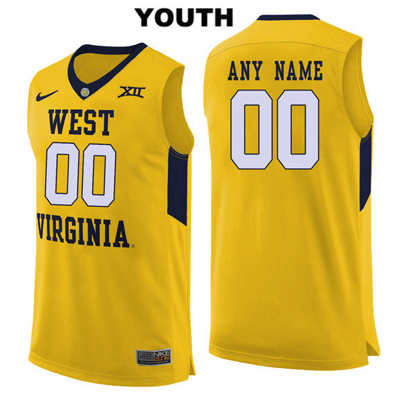 c875cca7e93a Customize Nike Youth Stitched Yellow West Virginia Mountaineers Authentic  customize College Basketball Jersey