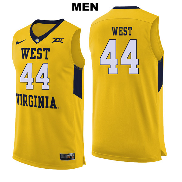 quality design 5d604 d21af Jerry West Nike Mens Yellow Stitched West Virginia Mountaineers Authentic  no. 44 College Basketball Jersey