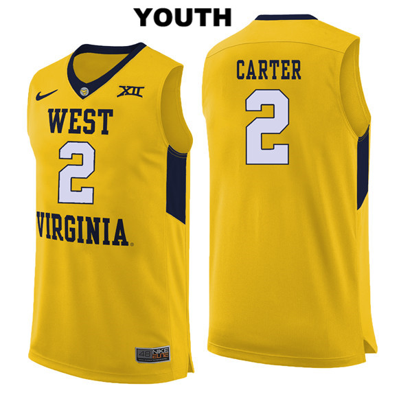 Jevon Carter Youth Yellow West Virginia Mountaineers Stitched Nike Authentic no. 2 College Basketball Jersey - Jevon Carter Jersey