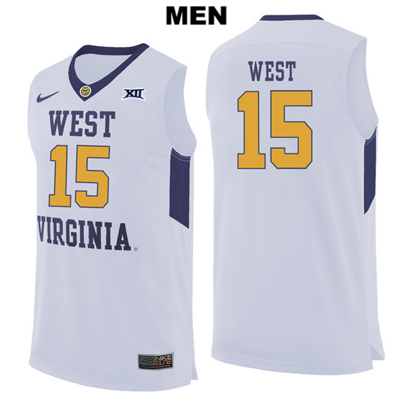 Lamont West Mens Nike White Stitched West Virginia Mountaineers Authentic no. 15 College Basketball Jersey - Lamont West Jersey