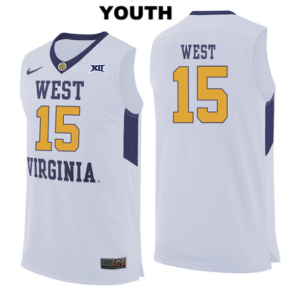 Lamont West Stitched Youth Nike White West Virginia Mountaineers Authentic no. 15 College Basketball Jersey - Lamont West Jersey
