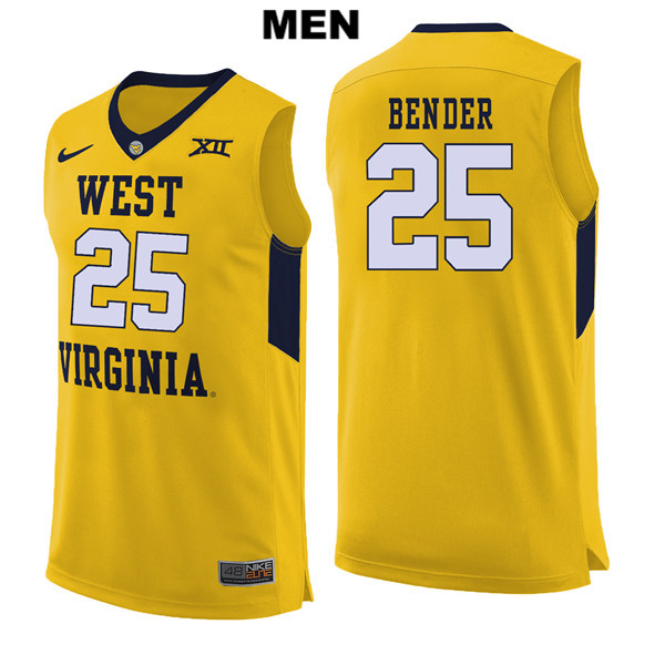 Maciej Bender Mens Nike Yellow West Virginia Mountaineers Authentic Stitched no. 25 College Basketball Jersey - Maciej Bender Jersey