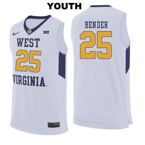 Maciej Bender Stitched Youth White Nike West Virginia Mountaineers Authentic no. 25 College Basketball Jersey - Maciej Bender Jersey