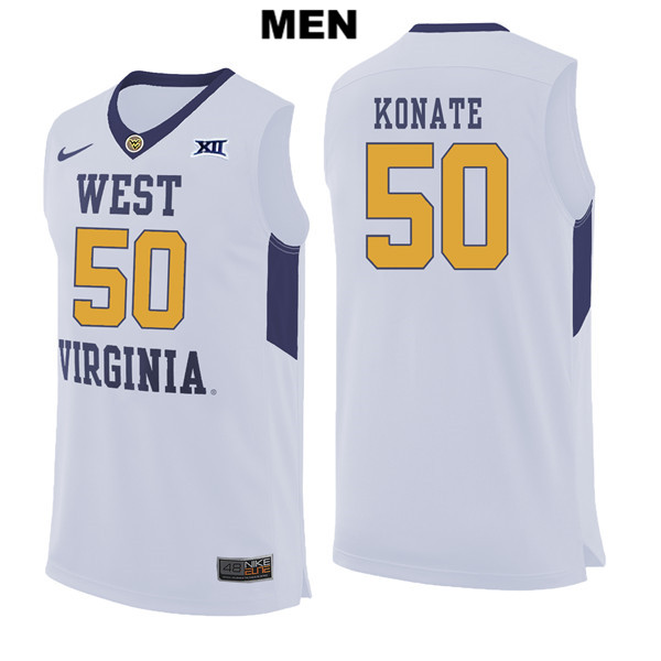 1c4ee6cc3ad Sagaba Konate Mens Stitched White West Virginia Mountaineers Authentic Nike  no. 50 College Basketball Jersey