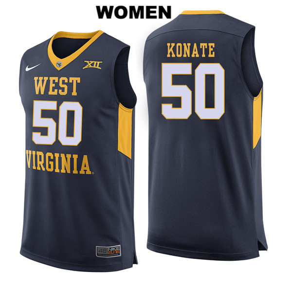 Sagaba Konate Womens Nike Navy West Virginia Mountaineers Stitched Authentic no. 50 College Basketball Jersey - Sagaba Konate Jersey