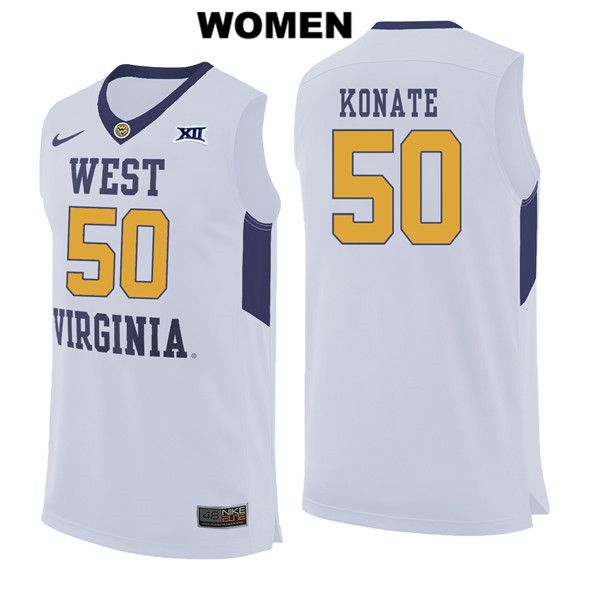 Sagaba Konate Stitched Womens White Nike West Virginia Mountaineers Authentic no. 50 College Basketball Jersey - Sagaba Konate Jersey