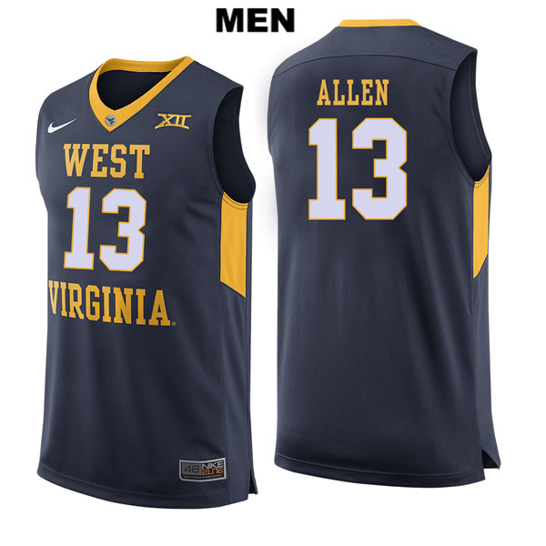Teddy Allen Nike Mens Navy West Virginia Mountaineers Authentic Stitched no. 13 College Basketball Jersey - Teddy Allen Jersey