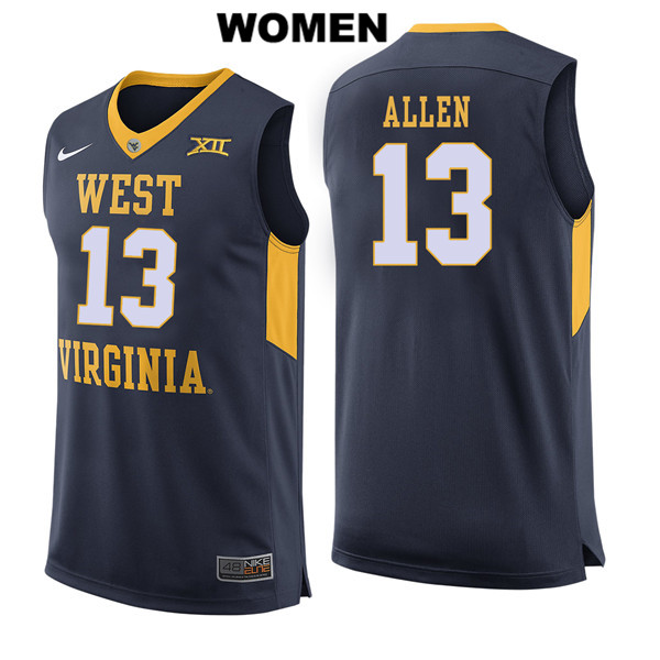 Nike Teddy Allen Womens Navy West Virginia Mountaineers Stitched Authentic no. 13 College Basketball Jersey