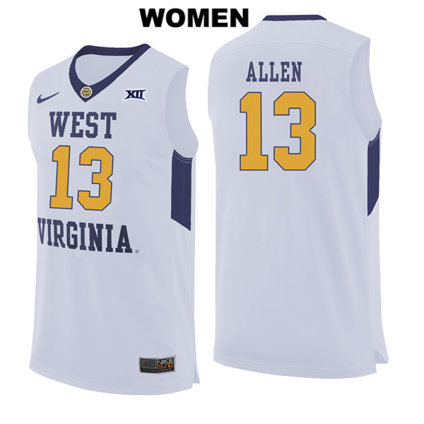 Nike Teddy Allen Womens White West Virginia Mountaineers Authentic Stitched no. 13 College Basketball Jersey - Teddy Allen Jersey