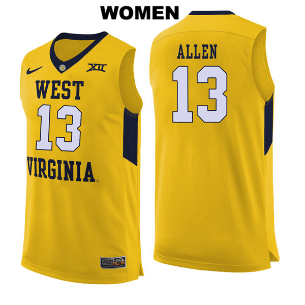 Teddy Allen Womens Stitched Yellow West Virginia Mountaineers Authentic Nike no. 13 College Basketball Jersey - Teddy Allen Jersey