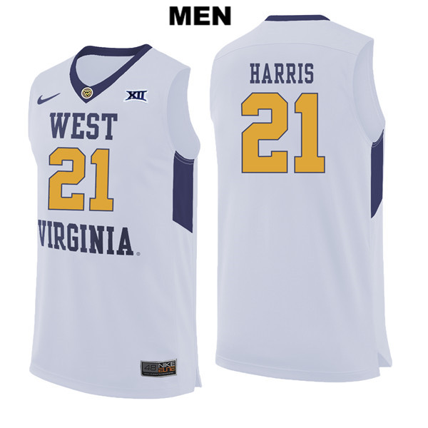 07cef85e15e0 Wesley Harris Mens Nike White West Virginia Mountaineers Stitched Authentic  no. 21 College Basketball Jersey
